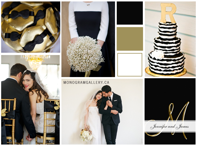 Black Gold Wedding Invitations Inspiration Board by MonogramGallery.ca