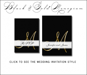 Black Gold Wedding Invitations with Gold Monogram by MonogramGallery.ca