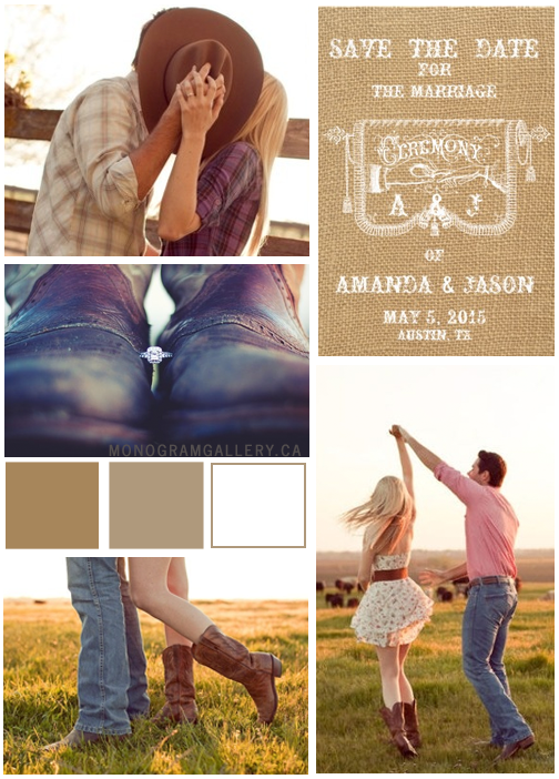 Burlap Rustic Wedding Save The Date Cards Inspiration Board from MonogramGallery.ca