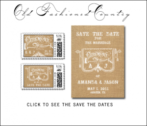 Burlap Rustic Wedding Save The Date Cards from MonogramGallery.ca