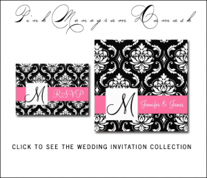 Pink Black Damask Wedding Invitations from MonogramGallery.ca