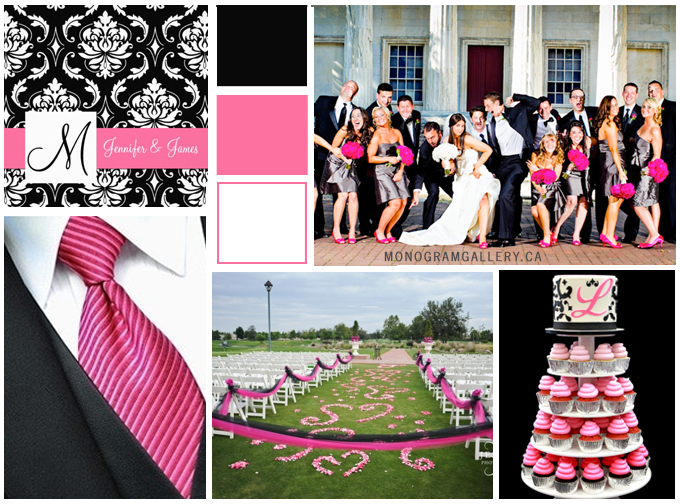 Pink Black Wedding Invitations and Pink Black Wedding Inspiration Board from MonogramGallery.ca
