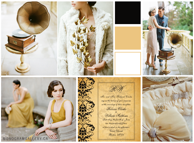 Great Gatsby Wedding Inspiration Board from MonogramGallery.ca