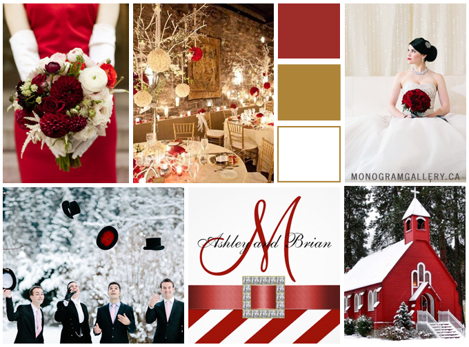 Red White Wedding Invitations Winter Wedding Inspiration Board by MonogramGallery.ca
