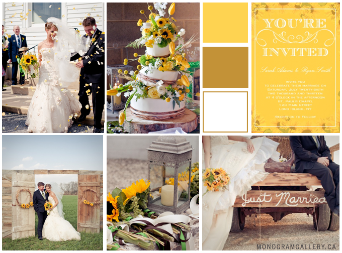 Rustic Yellow Sunflower Wedding Invitations and Sunflower Wedding Inspiration Board from MonogramGallery.ca