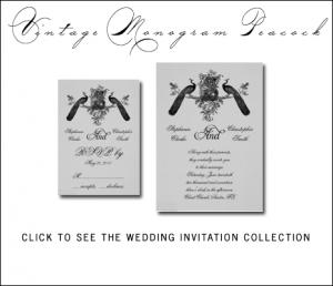 Vintage Peacock Wedding Invitations from MonogramGallery.ca