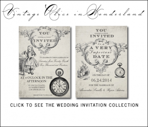 Vintage Alice in Wonderland Wedding Invitations by AntiqueChandelier for MonogramGallery.ca