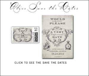 Alice in Wonderland Save the Date Cards from MonogramGallery.ca