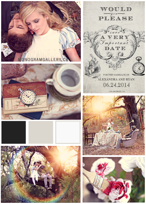 Alice in Wonderland Save the Date Cards Inspiration Board from MonogramGallery.ca