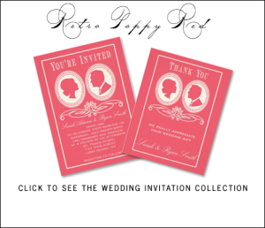 Retro Poppy Red Wedding Invitations by AntiqueChandelier for MonogramGallery.ca