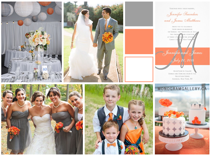 Orange Gray Wedding Invitations Inspiration Board from MonogramGallery.ca