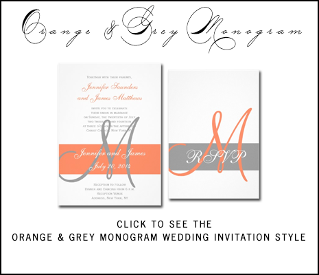 Orange Gray Wedding Invitations from MonogramGallery.ca