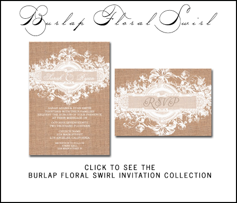 Rustic Wedding Burlap Lace Wedding Invitations by AntiqueChandelier for MonogramGallery.ca