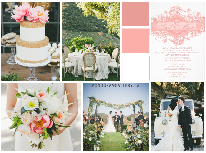 Pastel Pink Wedding Invitations by AntiqueChandelier Inspiration Board by MonogramGallery.ca