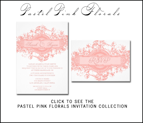 Pastel Pink Wedding Invitations by AntiqueChandelier for MonogramGallery.ca