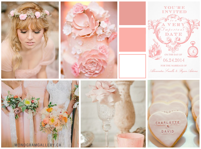 Pink Alice in Wonderland Invitations Inspiration Board from MonogramGallery.ca