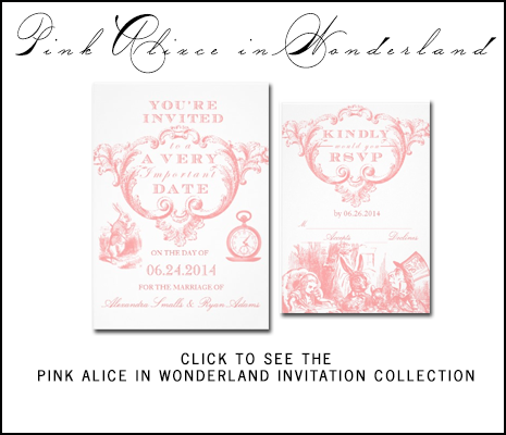 Pink Alice Wonderland Wedding Invitations by AntiqueChandelier from MonogramGallery.ca