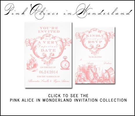 Pink Alice Wonderland Wedding Invitations by AntiqueChandelier from MonogramGallery.ca