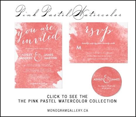 Watercolor Coral Wedding Invitations by AntiqueChandelier for MonogramGallery.ca