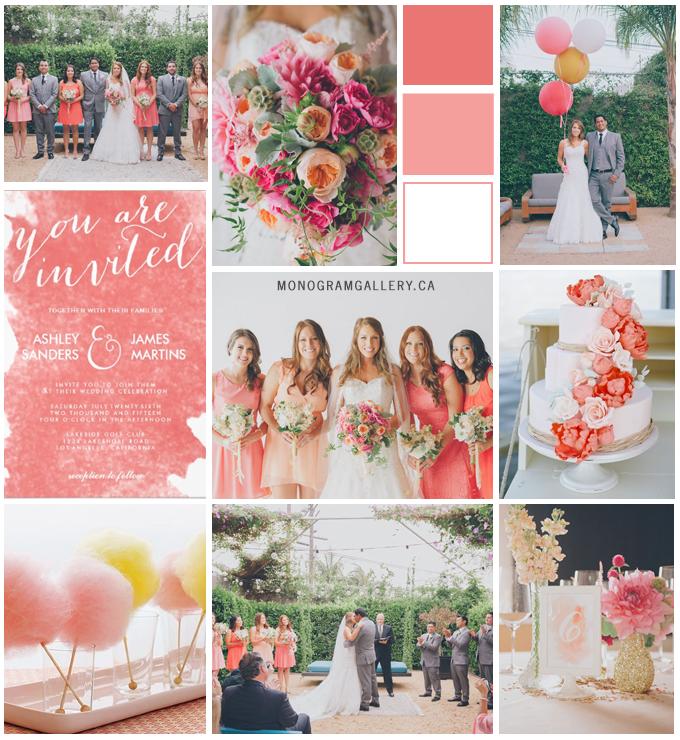 Watercolor Coral Wedding Invitations by AntiqueChandelier Inspiration Board by MonogramGallery.ca
