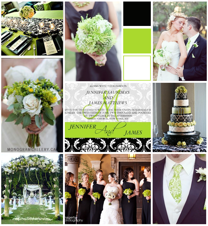 Lime Green Damask Wedding Invitations Inspiration Board from MonogramGallery.ca