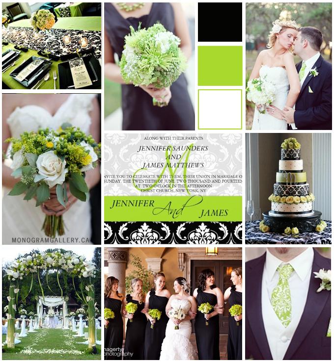 Lime Green Black Damask Wedding Invitations - MonogramGallery.ca