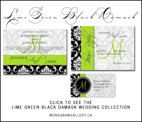 Lime Green Black Damask Wedding Invitations from MonogramGallery.ca
