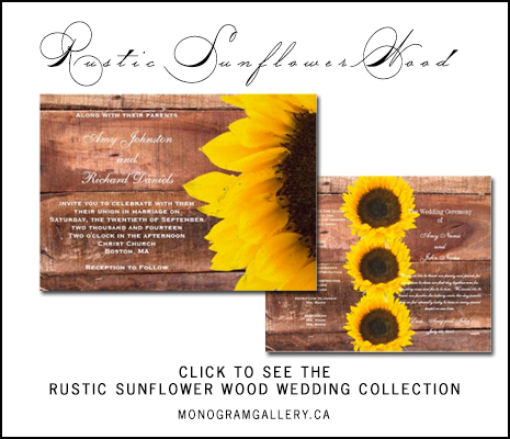 Rustic Sunflower Wedding Invitations by BlissfulWedding for MonogramGallery.ca
