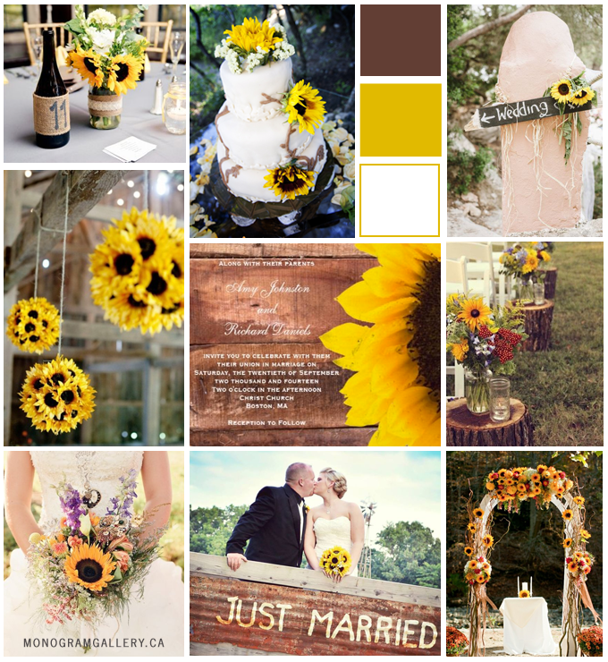 Rustic Sunflower Wedding Invitations by BlissfulWedding Inspiration Board from MonogramGallery.ca