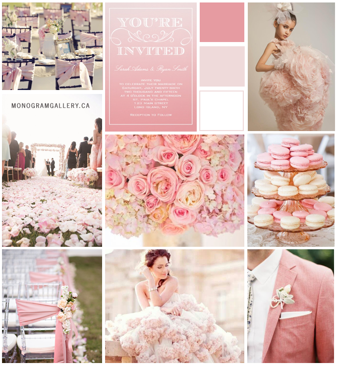 Pink Ombre Wedding Invitations Inspiration Board from MonogramGallery.ca