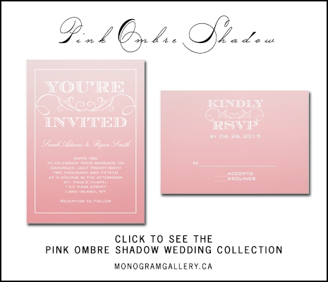 Pink Ombre Wedding Invitations by AntiqueChandelier for MonogramGallery.ca