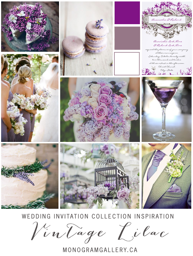 Vintage Lilac Wedding Invitations Inspiration Board by MonogramGallery.ca