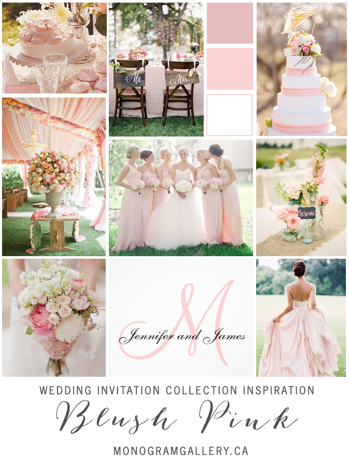 Monogram Blush Pink Wedding Invitations Inspiration Board from MonogramGallery.ca