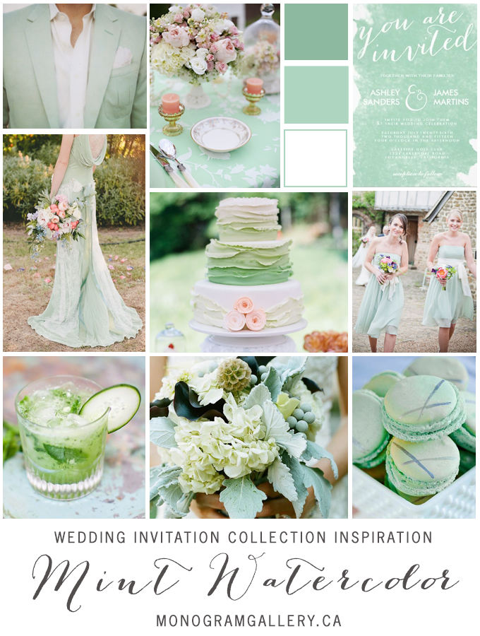 Mint Green Watercolor Wedding Invitations Inspiration Board by AntiqueChandelier for MonogramGallery.ca