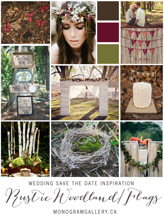 Rustic Wood & Flags Save the Dates