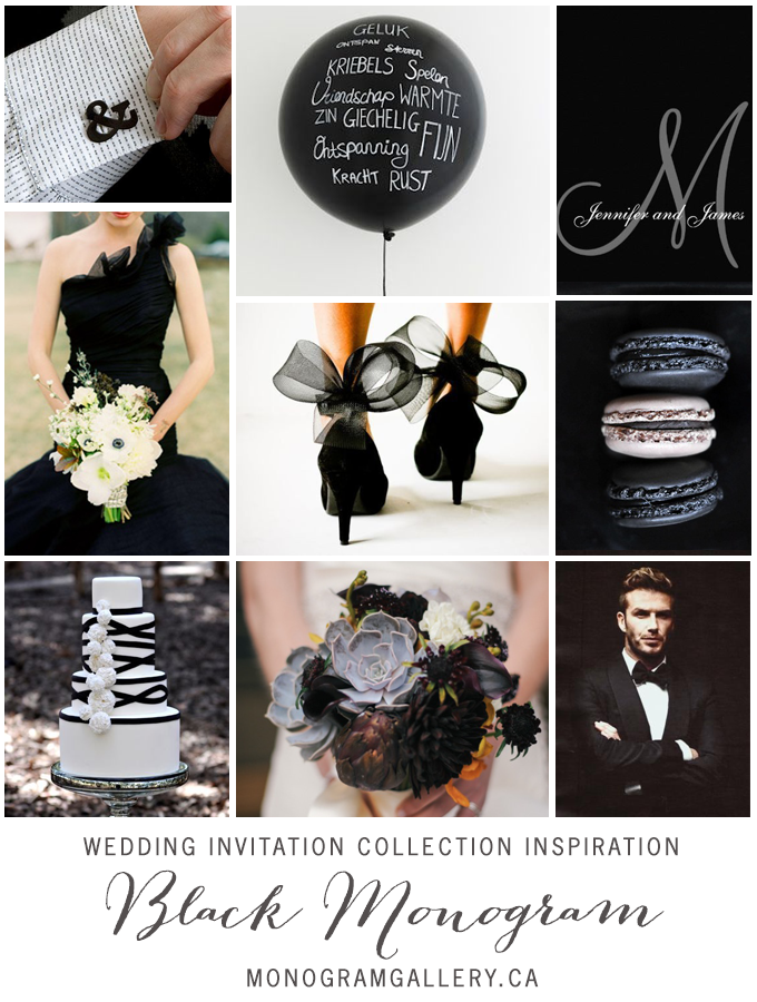 Black White Monogram Wedding