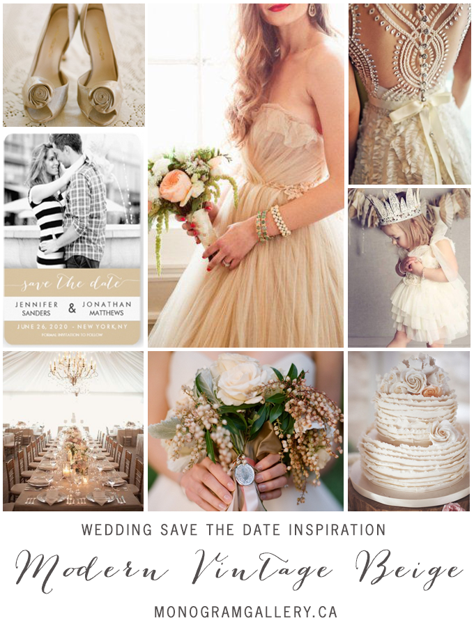 Modern Vintage Beige Save the Dates