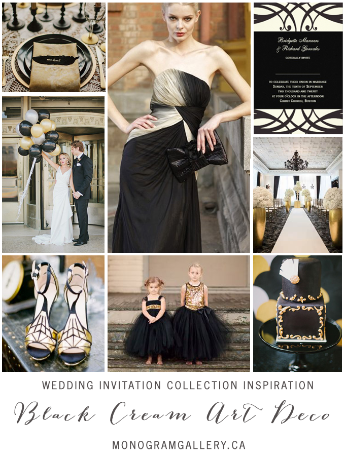 Black Cream Art Deco Wedding Invitation