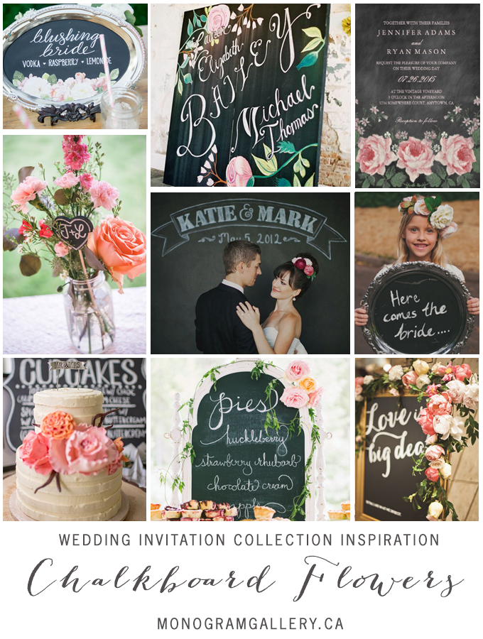 Chalkboard Flowers Wedding Invitations