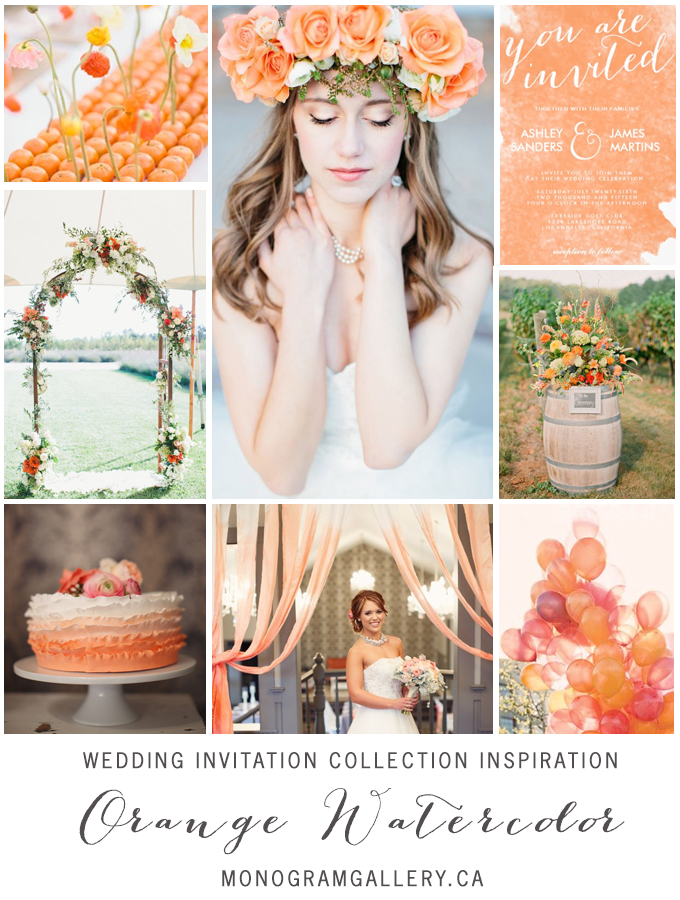 Orange Watercolor Wedding