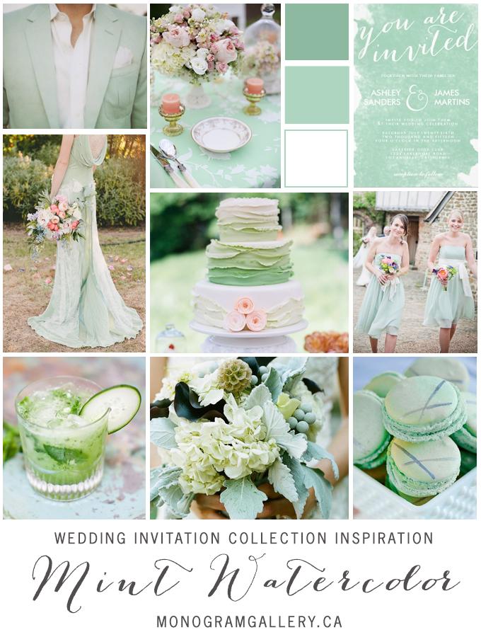 Mint Green Watercolor Wedding Invitations